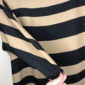 LOFT Tops - Loft Black Beige Stripe Top Sz Large